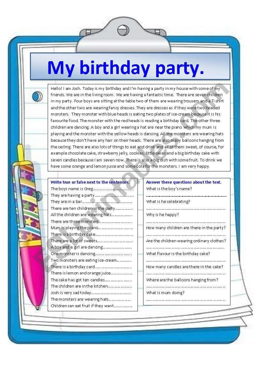 My birthday party. worksheet