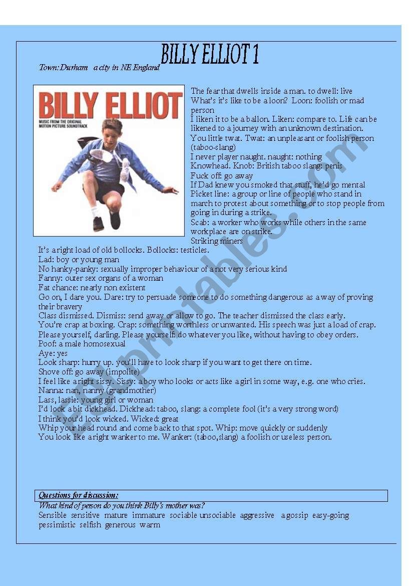 Billy Elliot worksheet