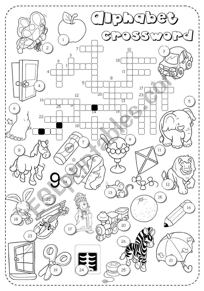 alphabet crossword worksheet