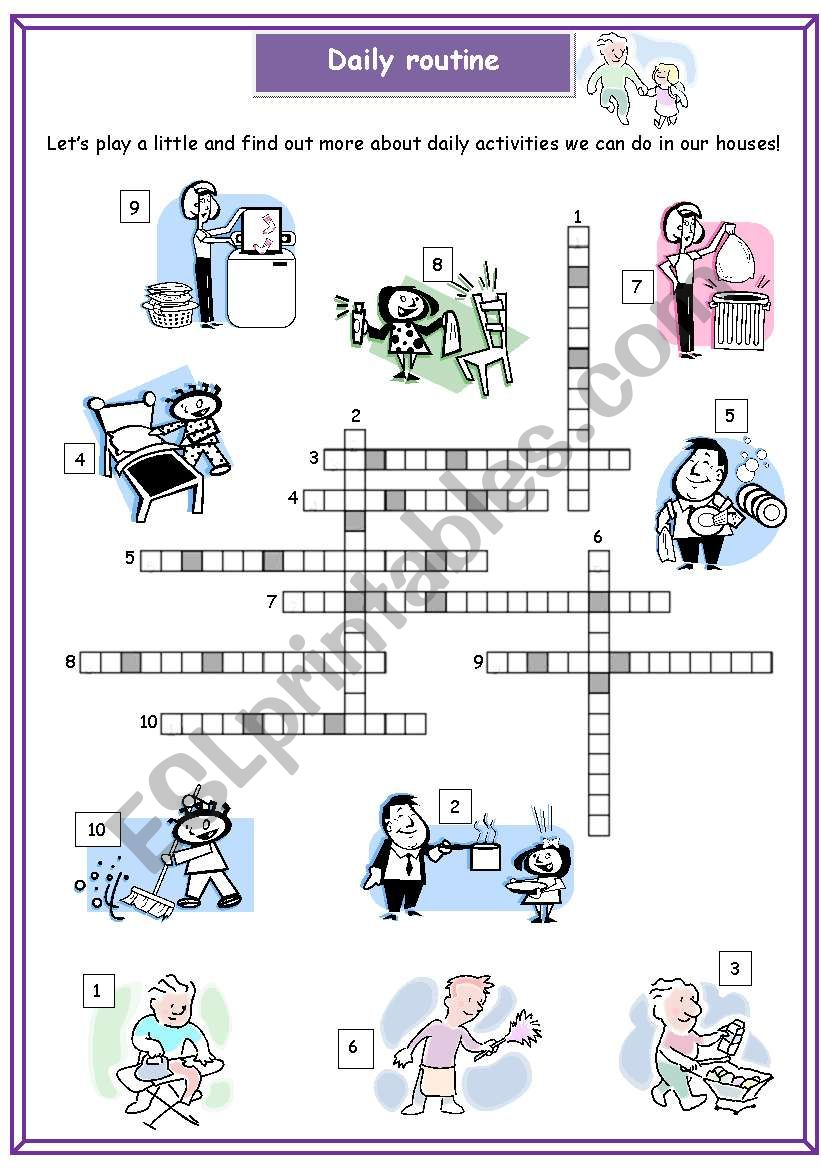 Daily Routine Crossword Puzzle Esl Worksheet By Fernandam