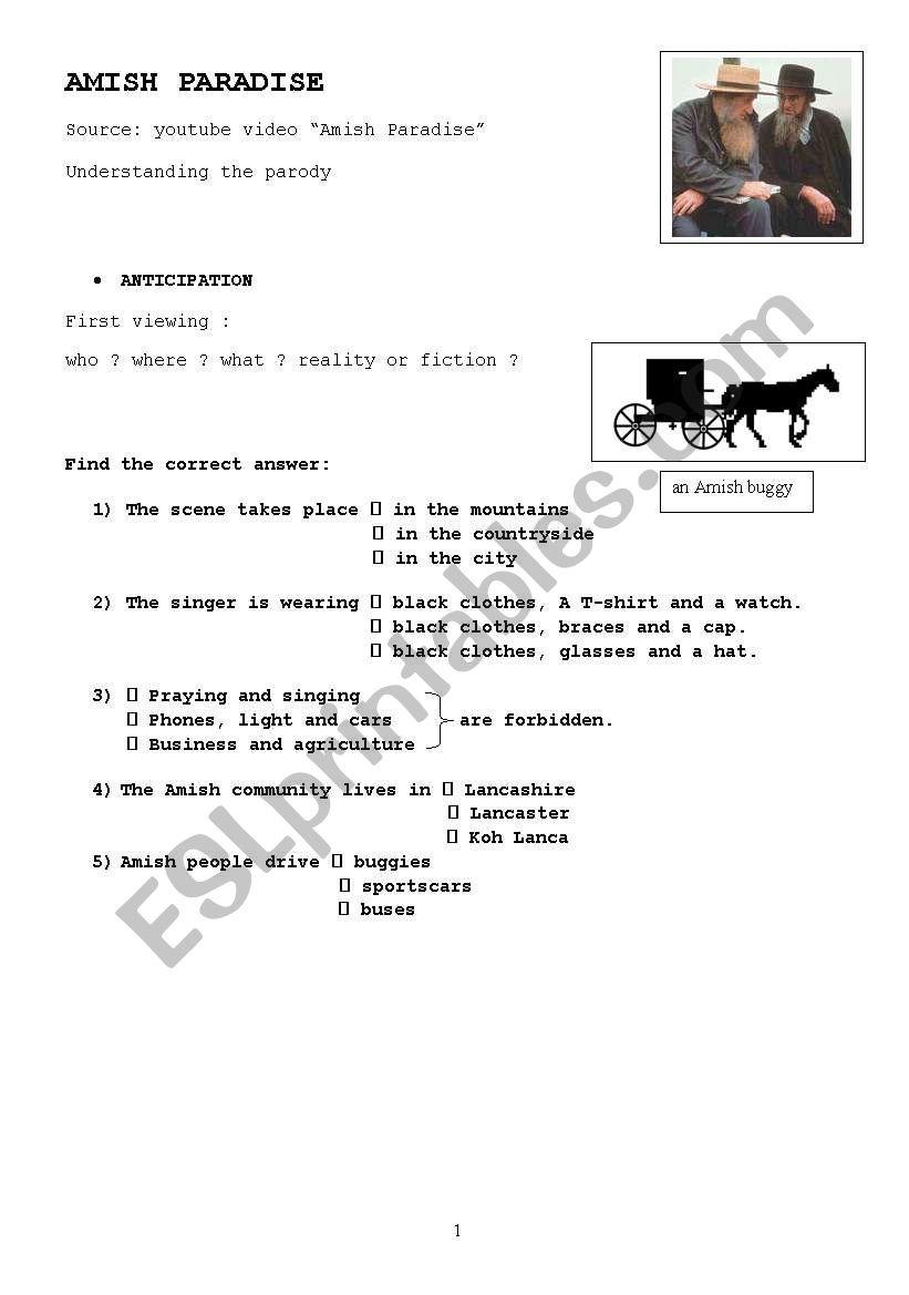 Amish Paradise worksheet worksheet