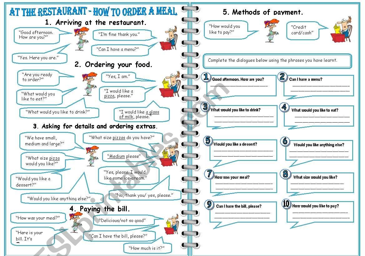 restaurant how to order a meal 3 pages esl worksheet by jamie s