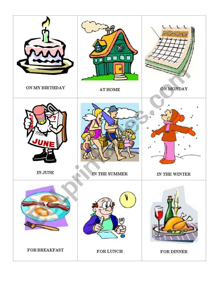 PREPOSITIONS GAME 2 worksheet