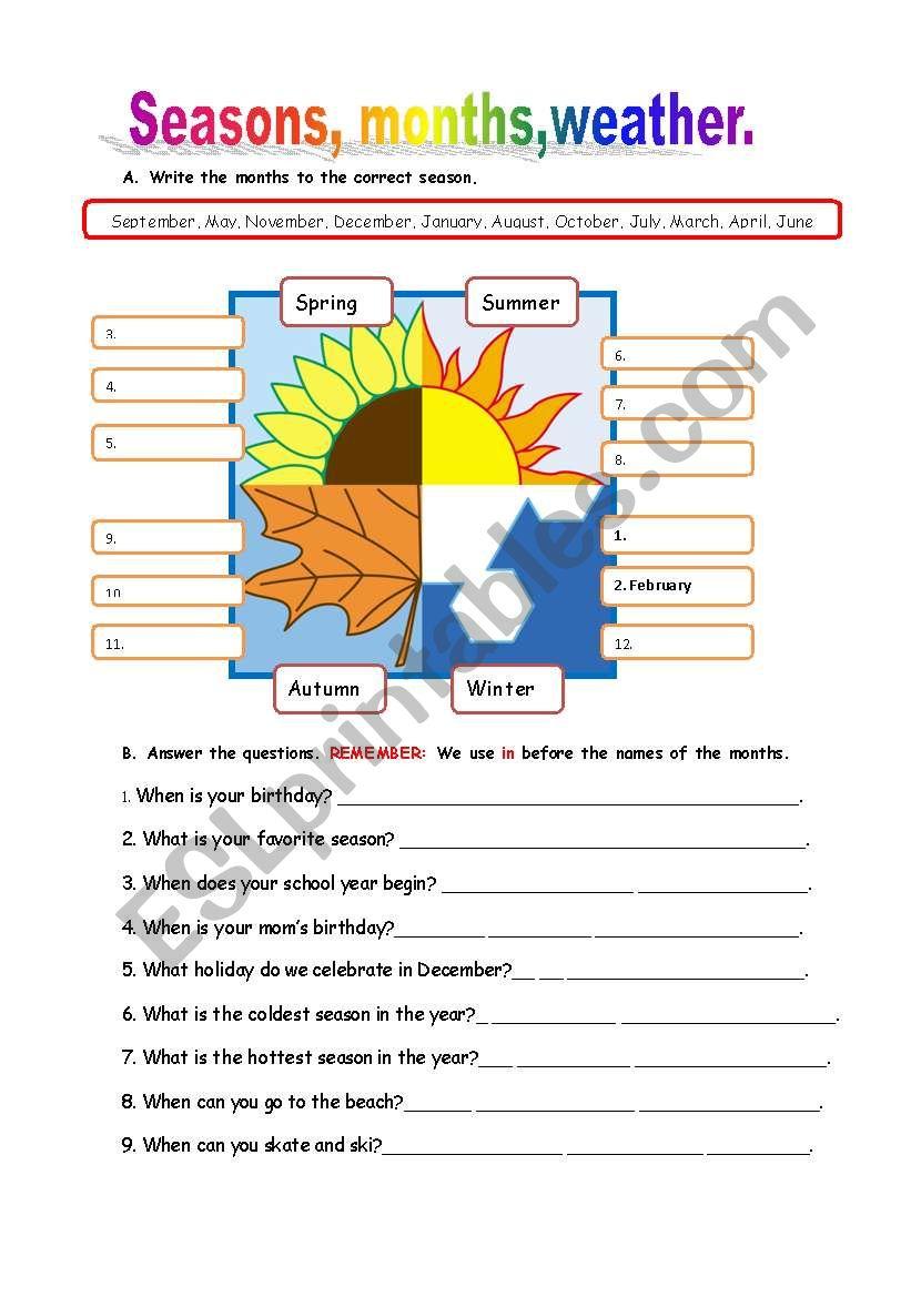 Seasons, months,weather worksheet