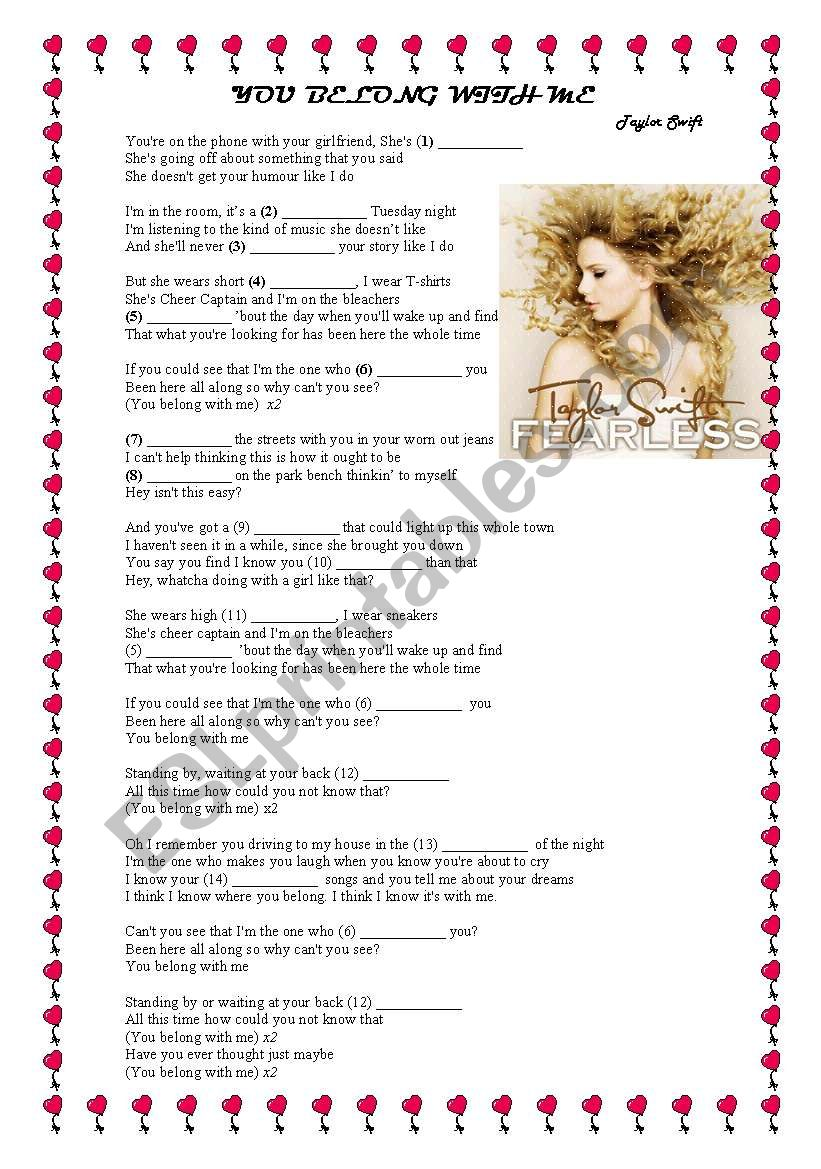 You belong with me worksheet