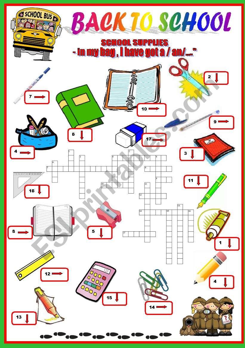 back to school - school supplies-crosswords