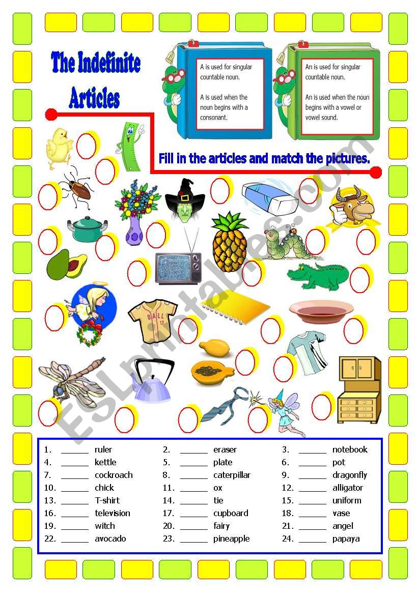 The Indefinite Articles worksheet