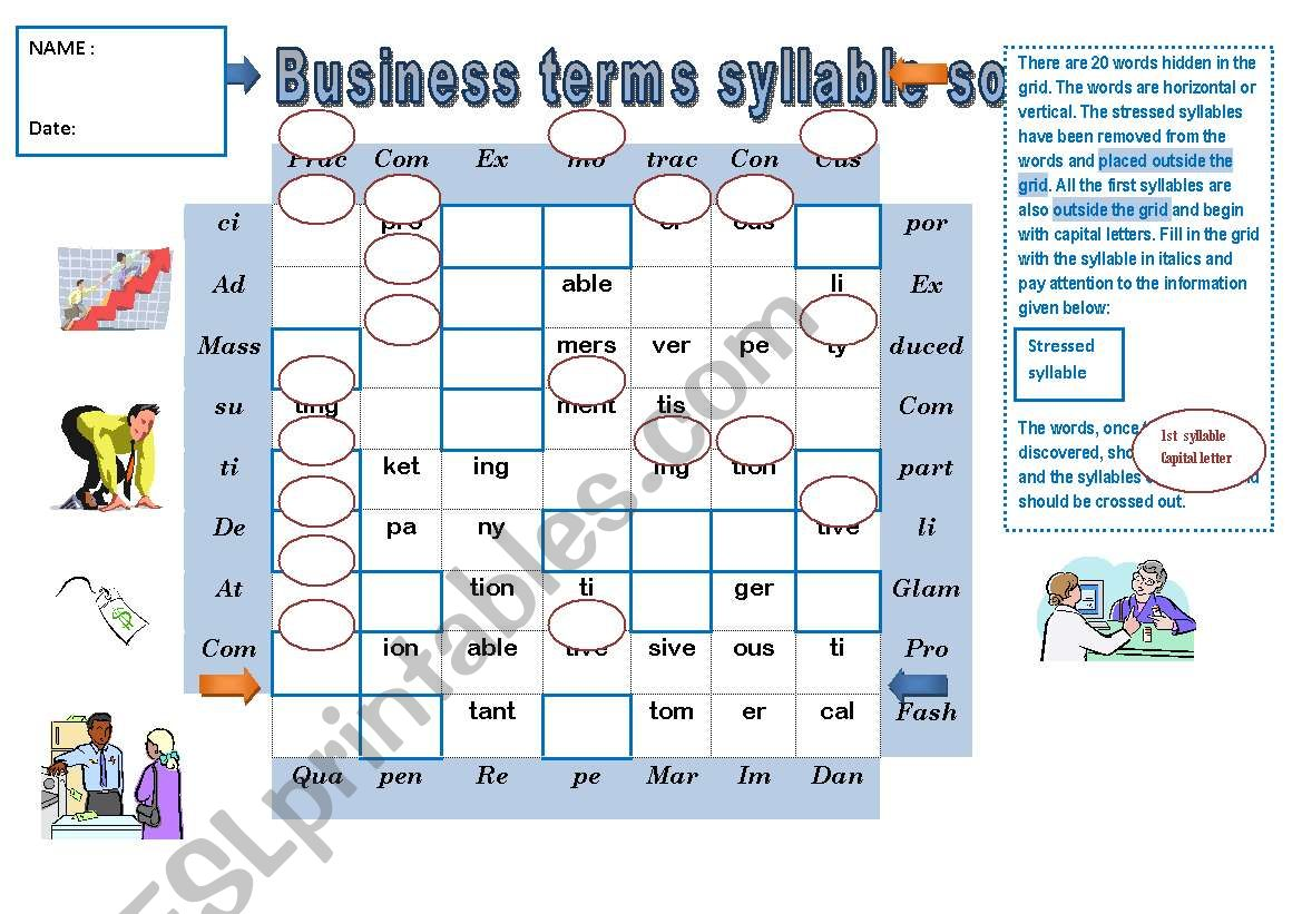 PRONUNCIATION GAME Business terms syllable soup + KEY for the teacher