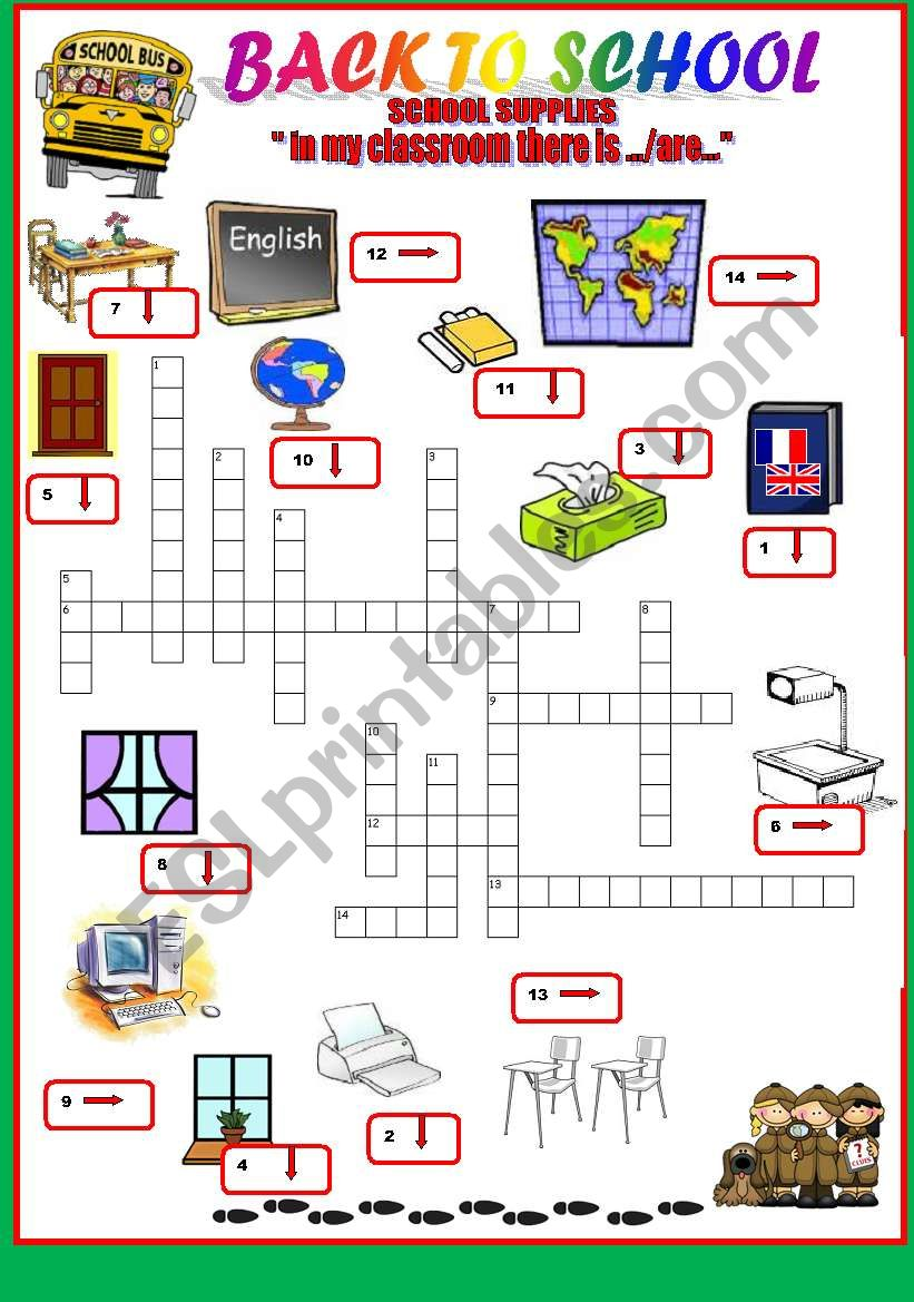back to school-school  crosswords - classroom objects