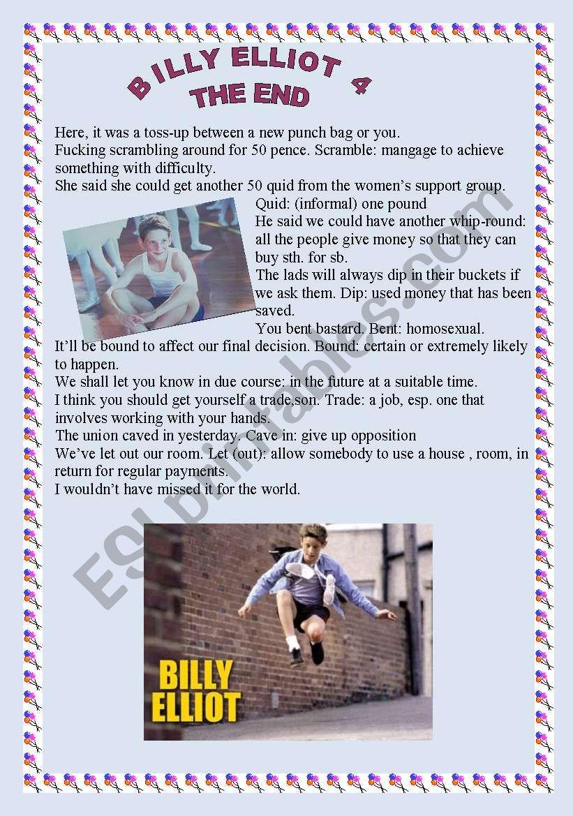 Billy Elliot (4/4) worksheet