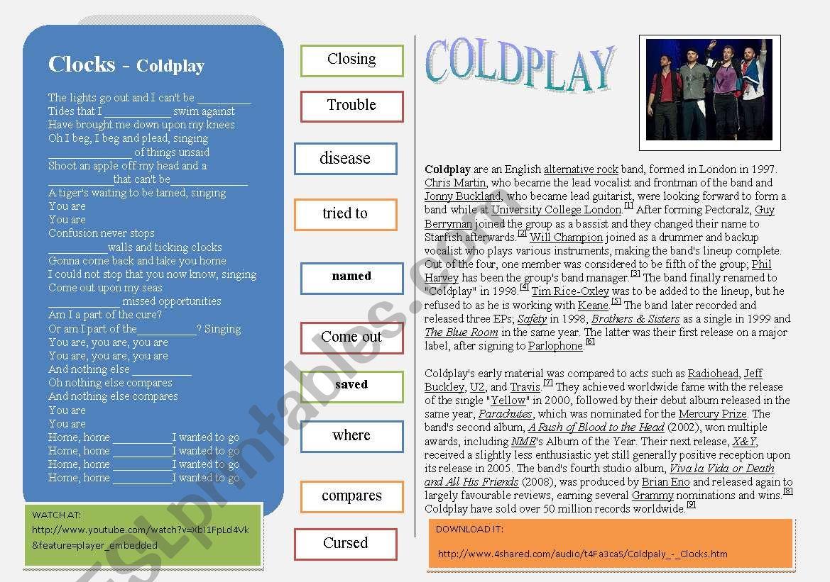 SONG: Coldplay - CLOCKS worksheet