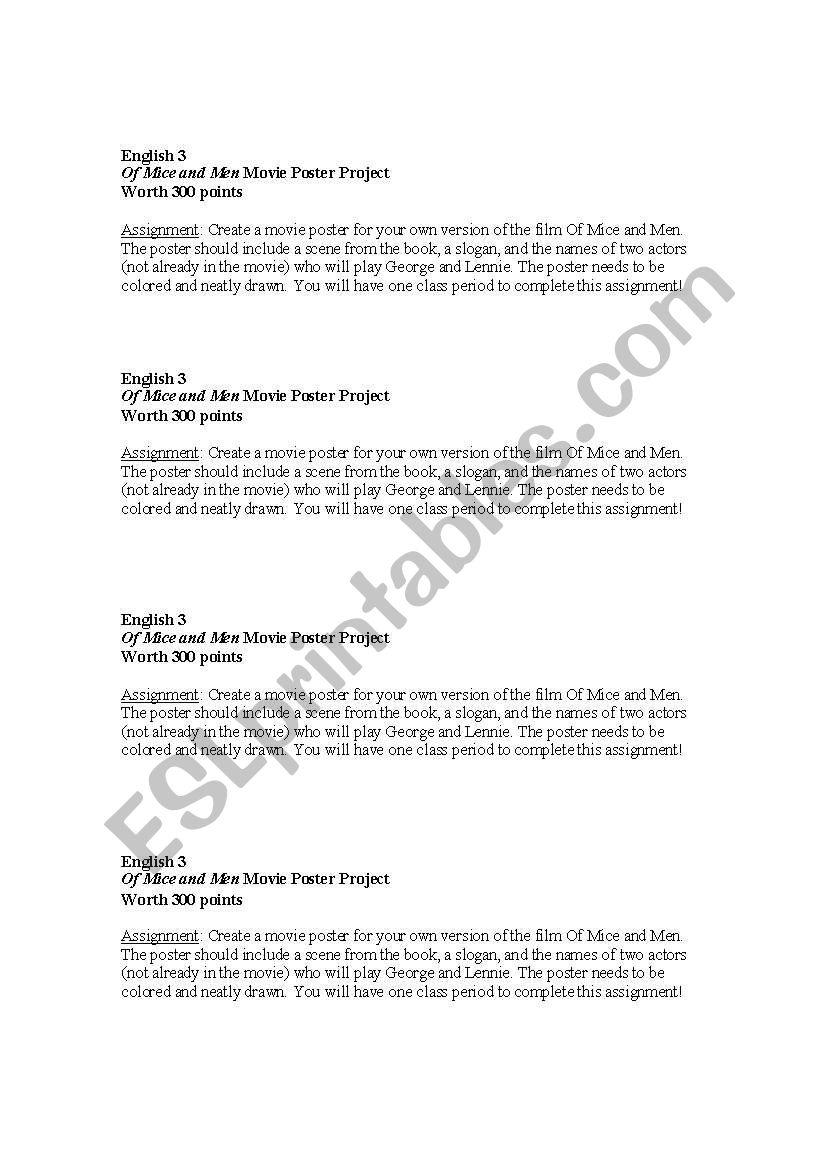 worksheet Of Mice And Men Movie Worksheet english worksheets of mice and men movie poster project project