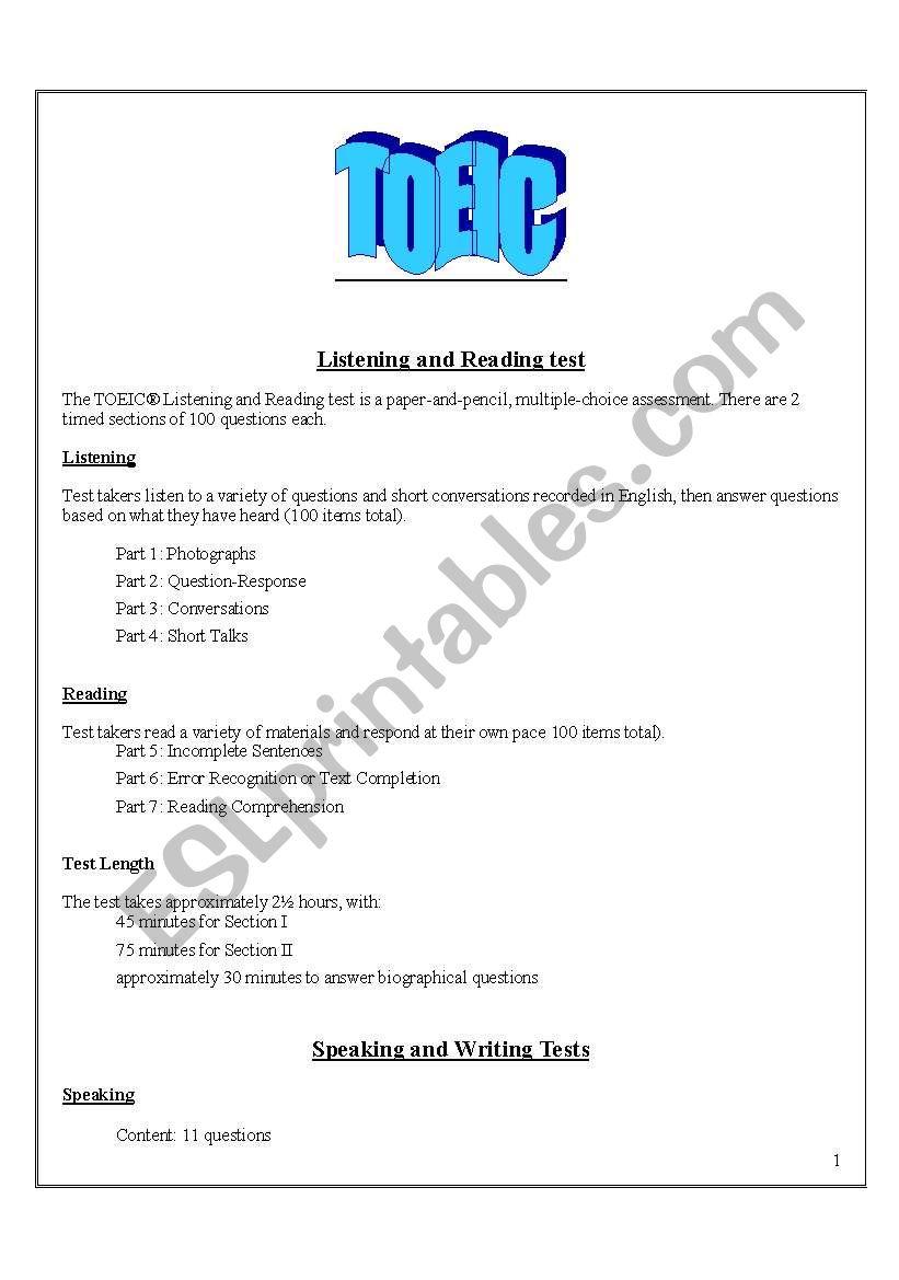 TOEIC worksheet