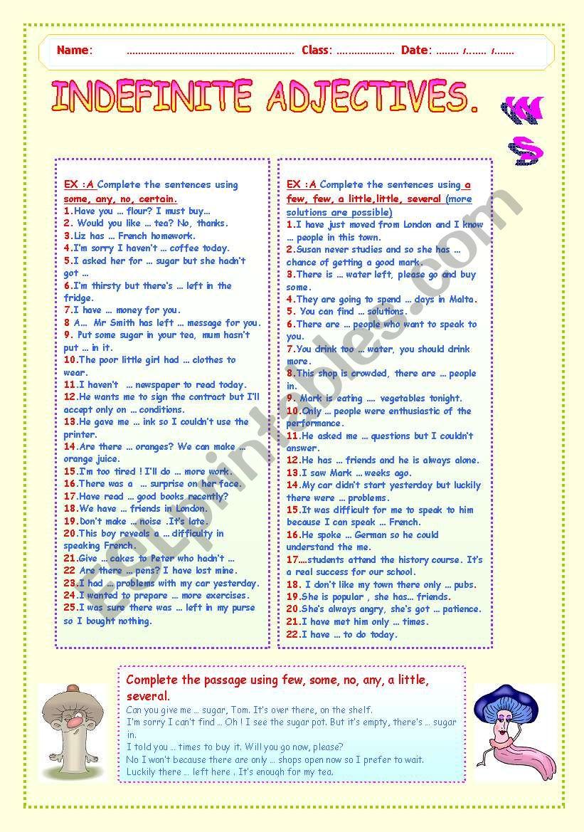INDEFINITE ADJECTIVES WS. - ESL worksheet by LUCETTA06
