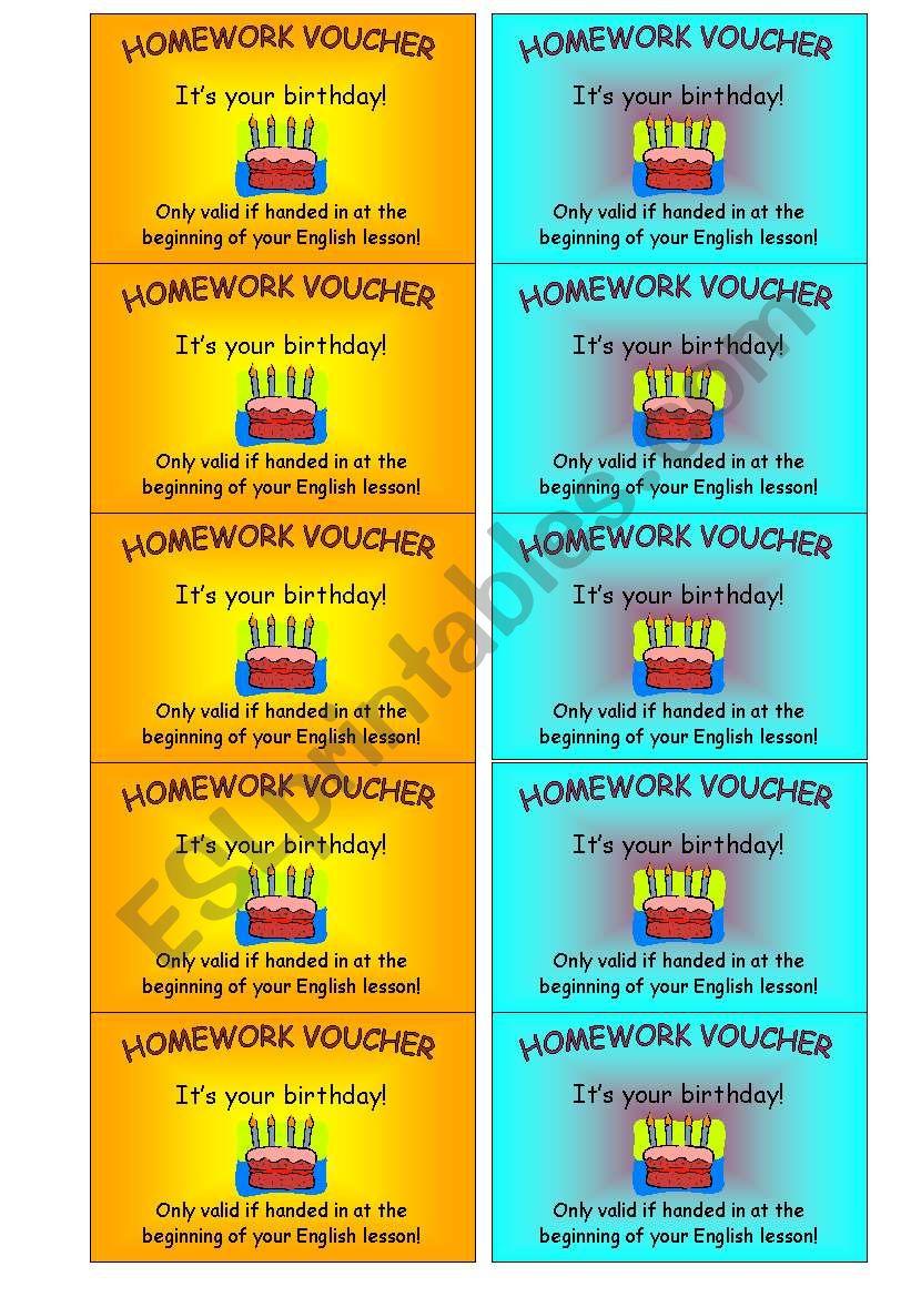 homework voucher (2 of 2) - ESL worksheet by schlomboni