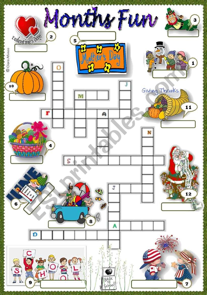 months fun worksheet