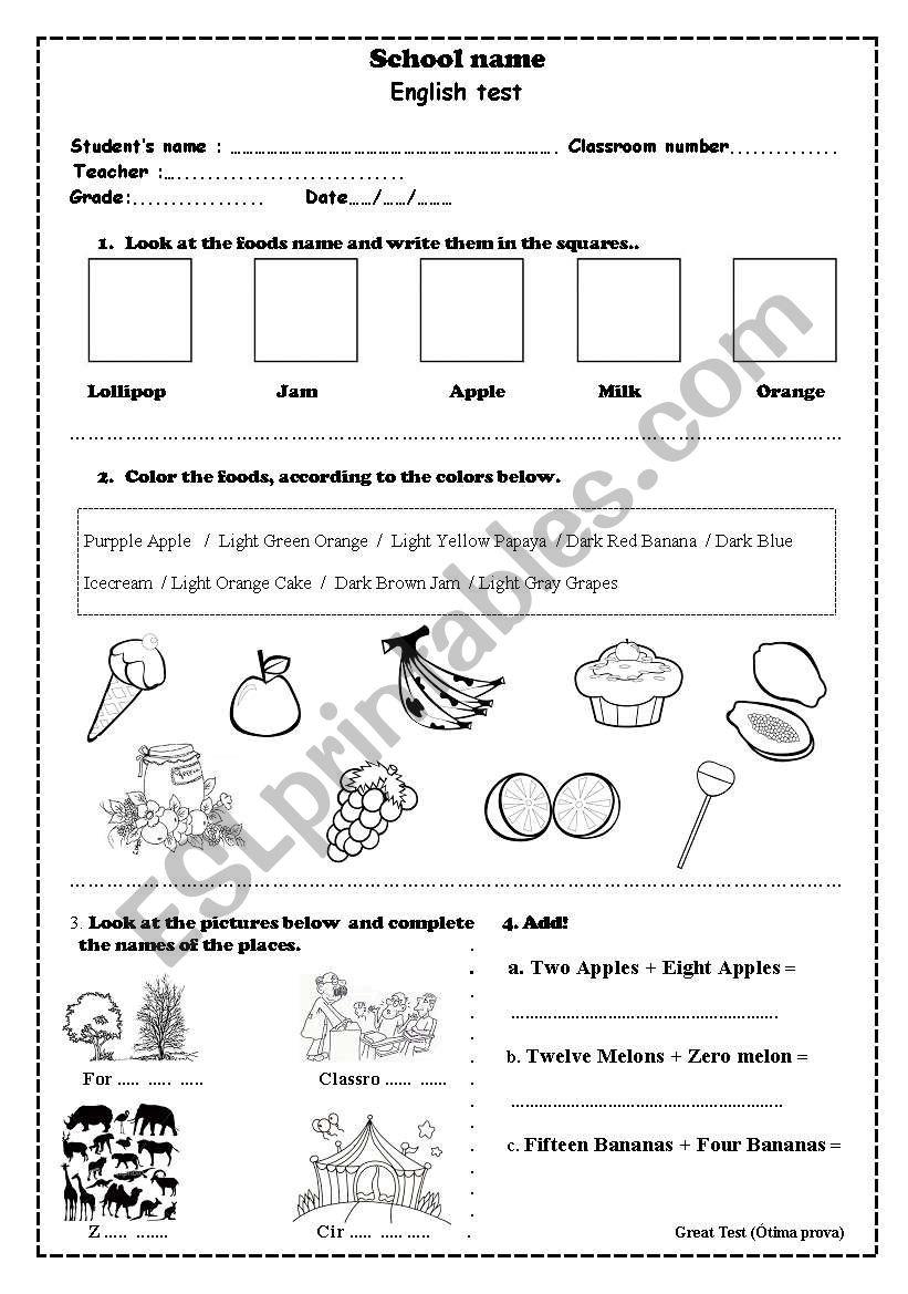 English test 3 worksheet