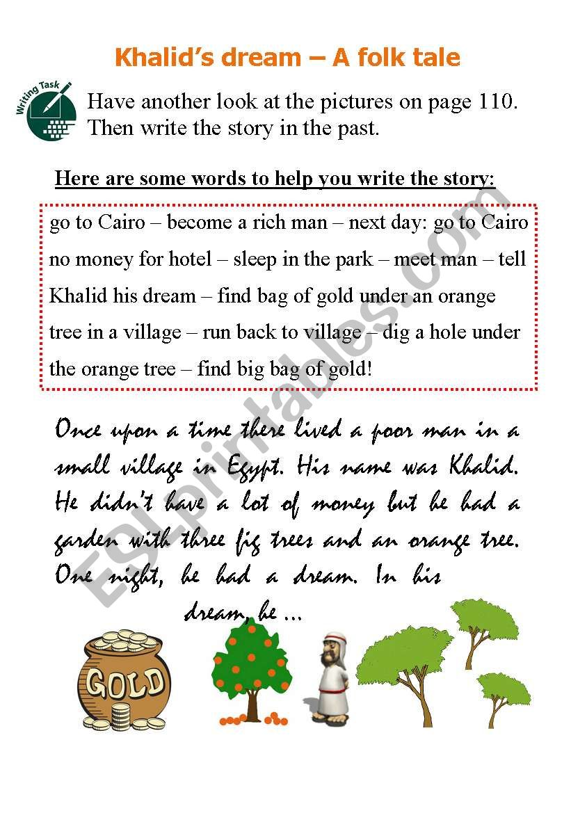 Khalid S Dream Writing A Story In Past Tense Esl Worksheet By Marion1605
