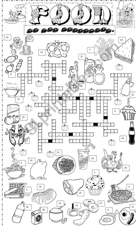 food crossword 2 worksheet