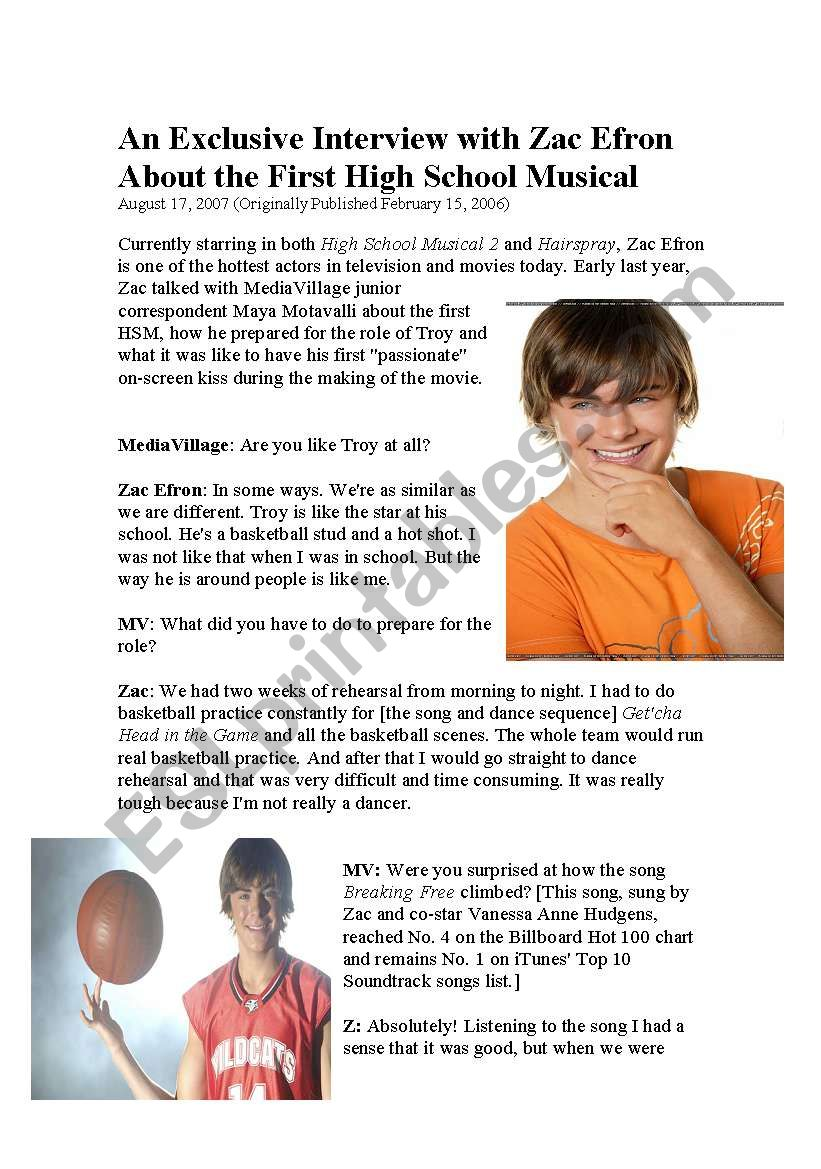 High School Musical Interview and questions - ESL ...