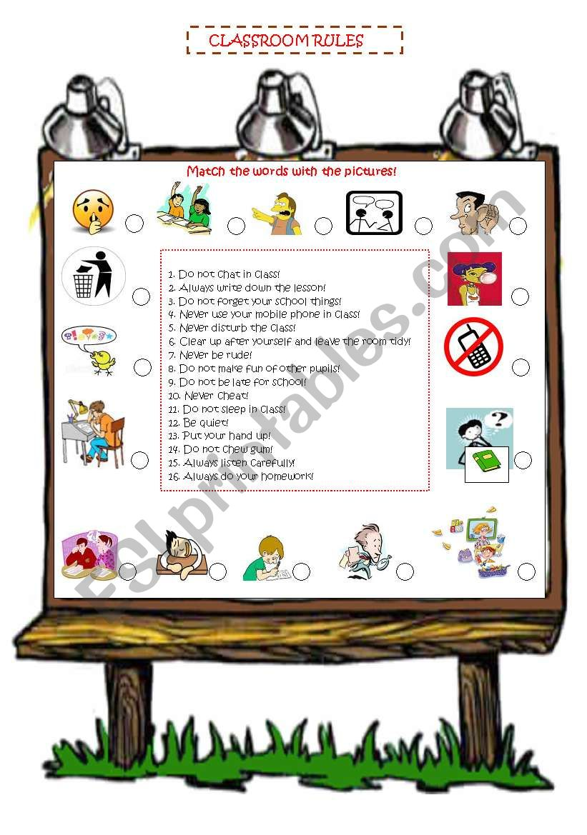 Classroom english worksheet