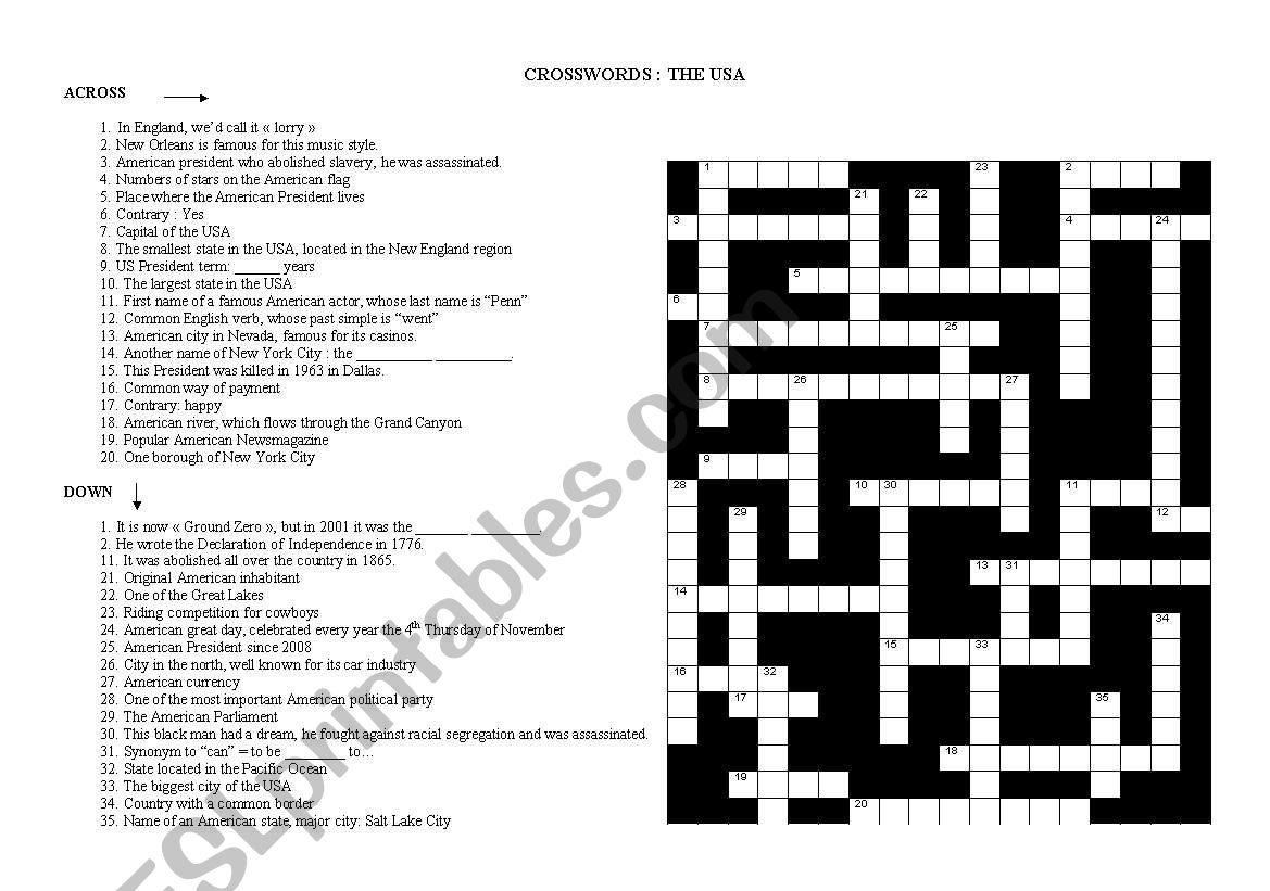 Crosswords: American culture worksheet