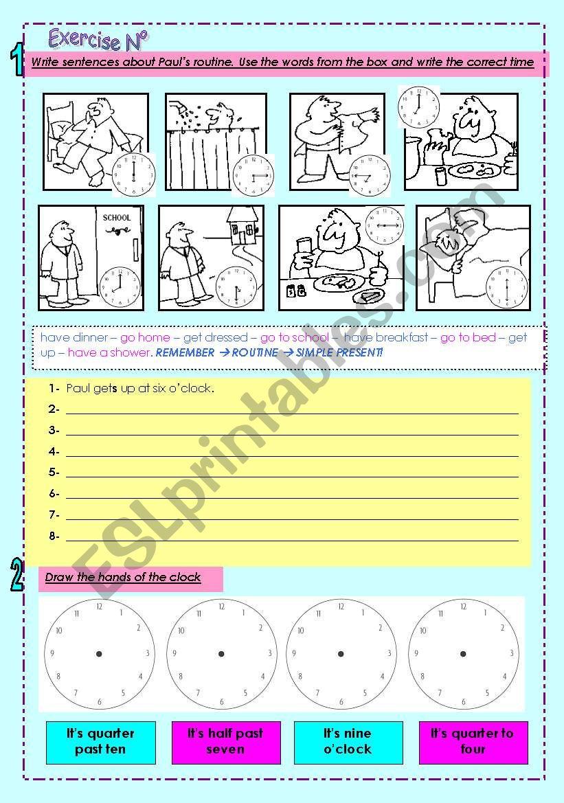 Routine + Time worksheet