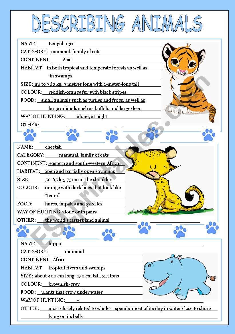describing animals 2 3 esl worksheet by veljaca82. Black Bedroom Furniture Sets. Home Design Ideas
