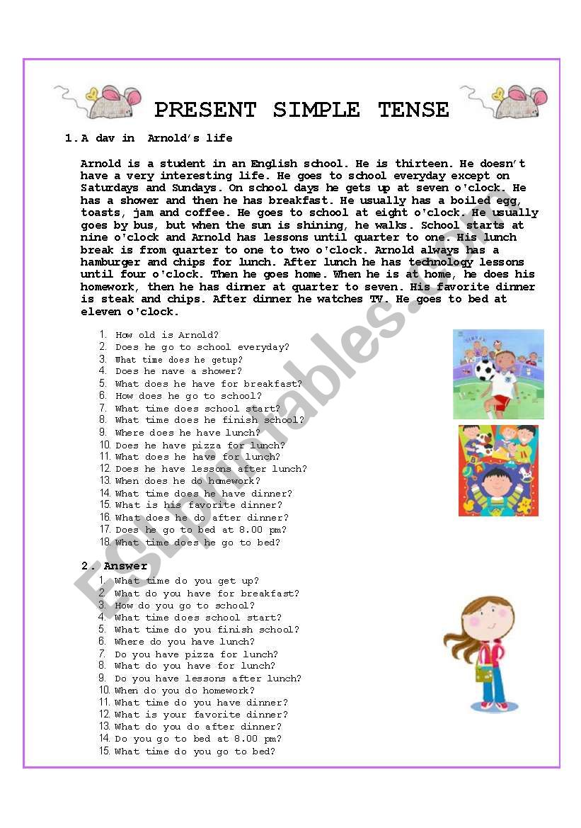 A DAY IN ARNOLD´S LIFE worksheet