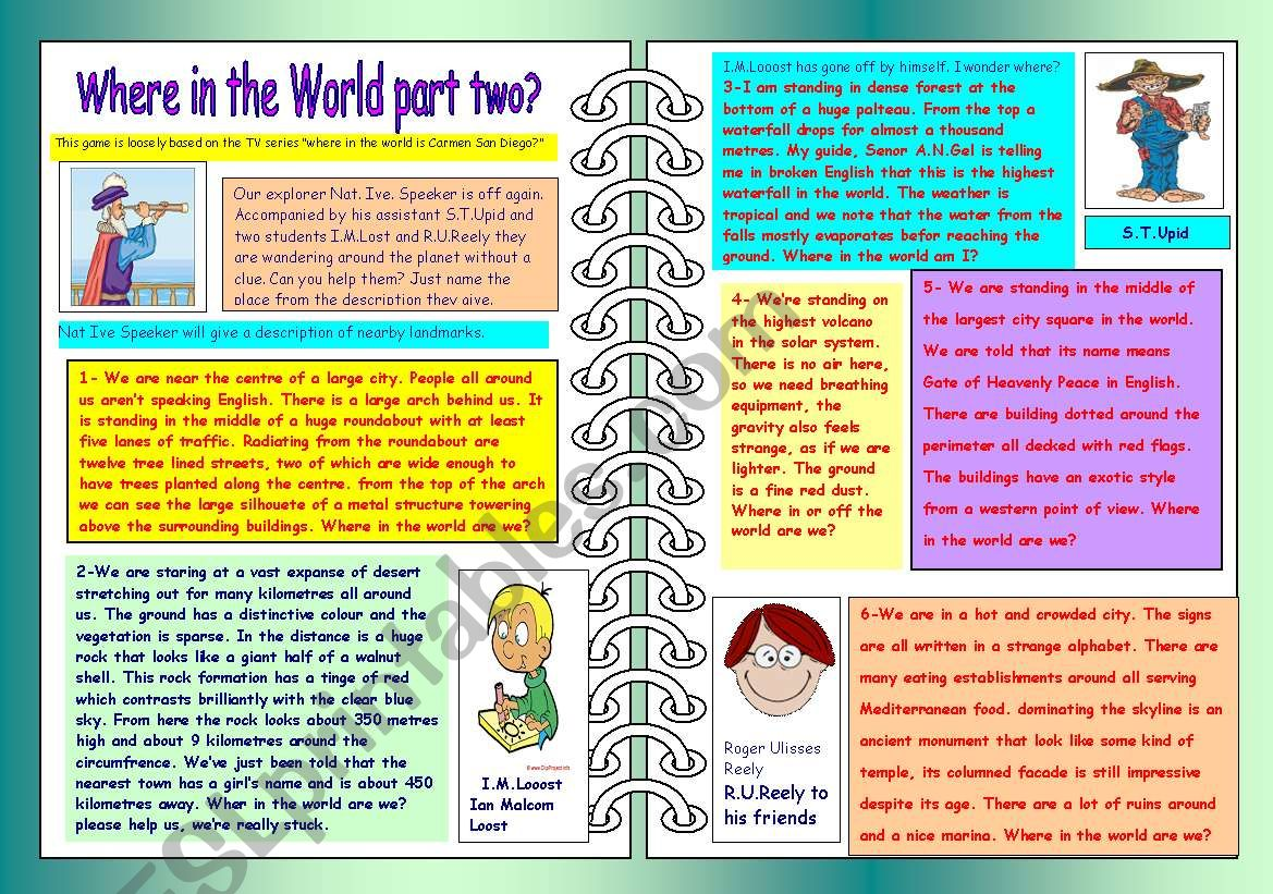 Where in the World part two? worksheet
