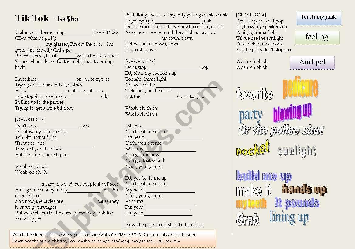 SONG: KE$SHA - TIK TOK - ESL worksheet by lwymax