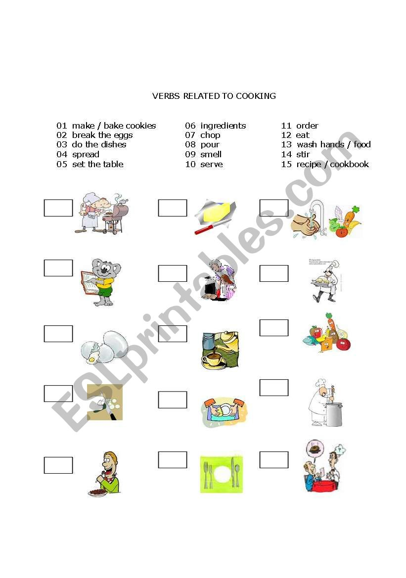 Verbs Related to Cooking worksheet