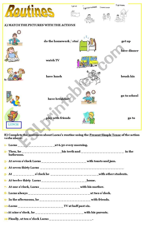 PRESENT SIMPLE -ROUTINES worksheet