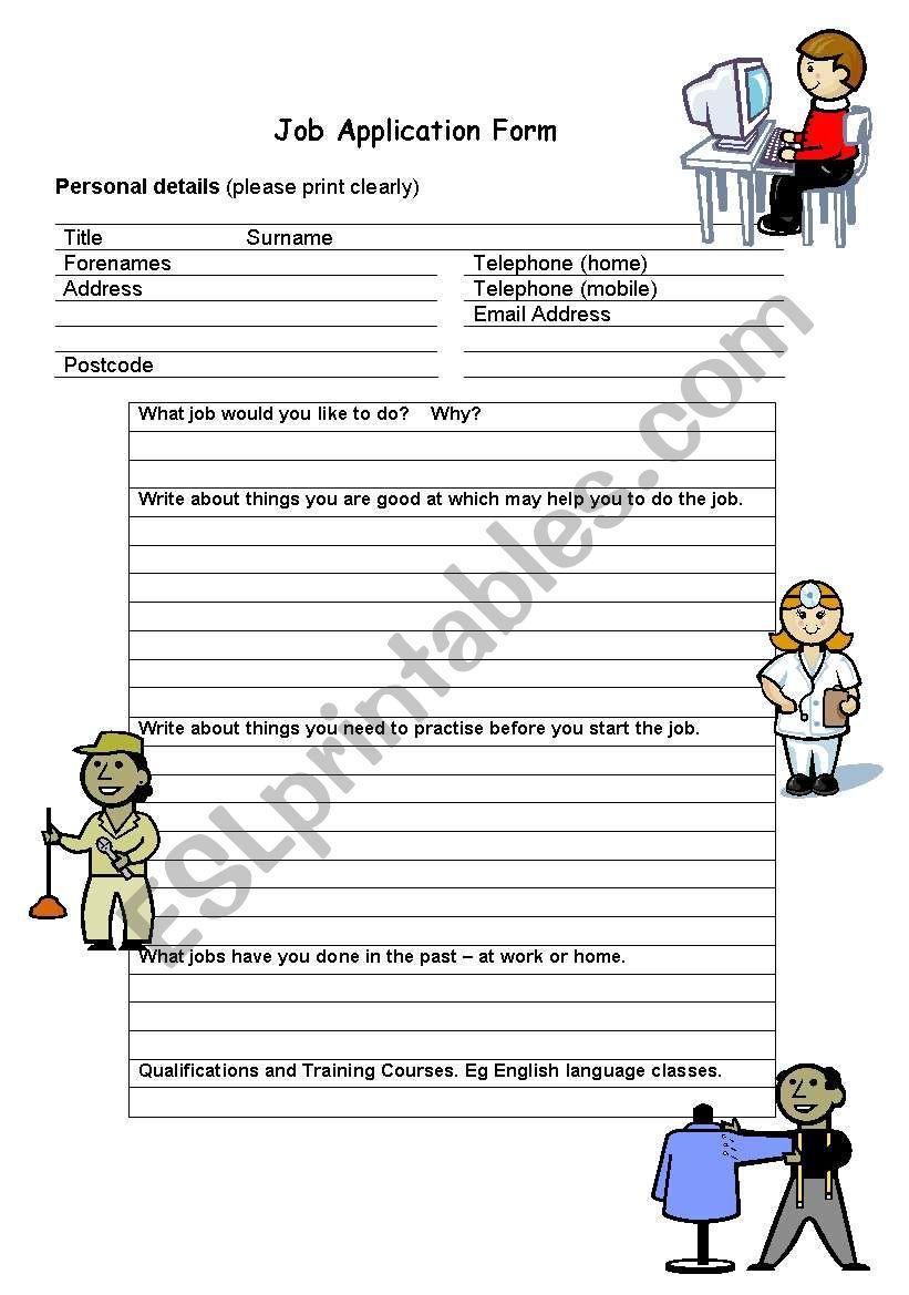 Job Application Form Esl Lesson on