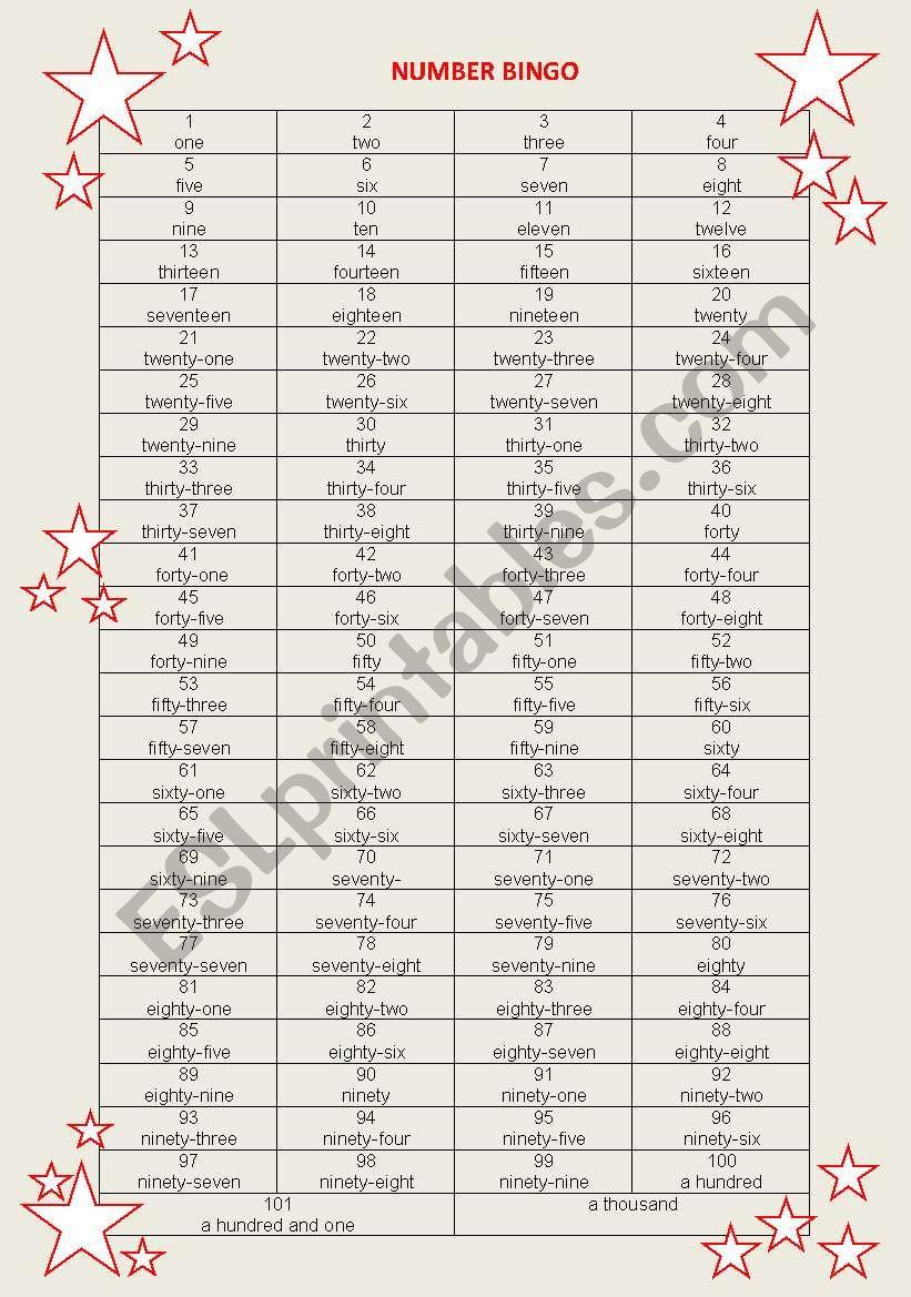 BINGO numbers 1-1000 worksheet