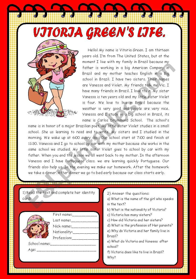 Text: Vitoria Green worksheet