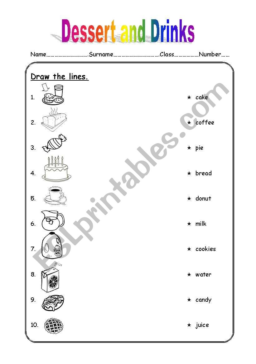 dessert and drinks worksheet