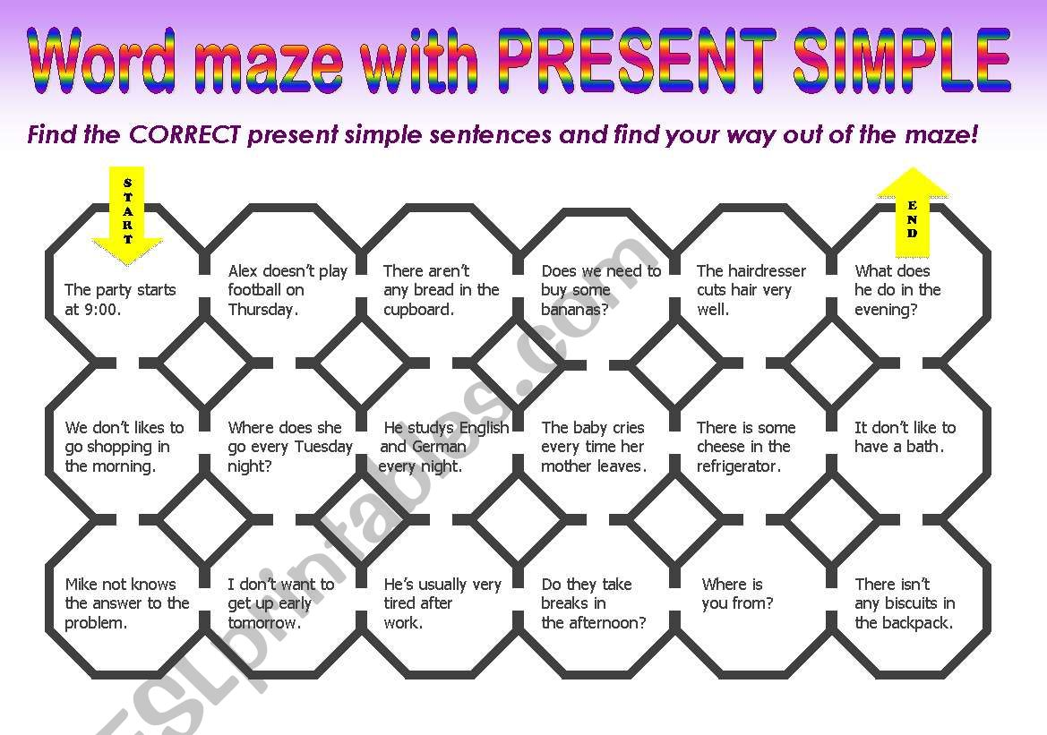 PRESENT SIMPLE MAZE worksheet