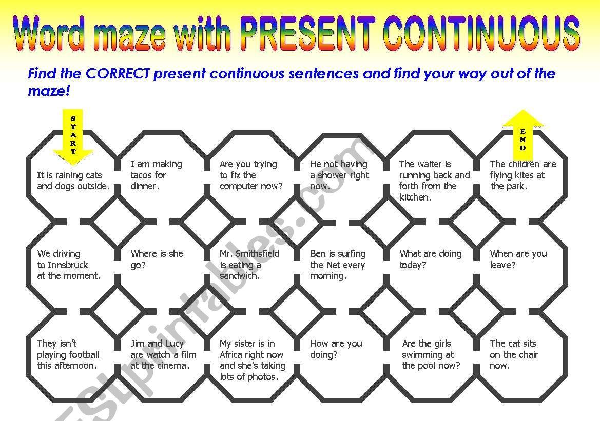 PRESENT CONTINUOUS MAZE worksheet