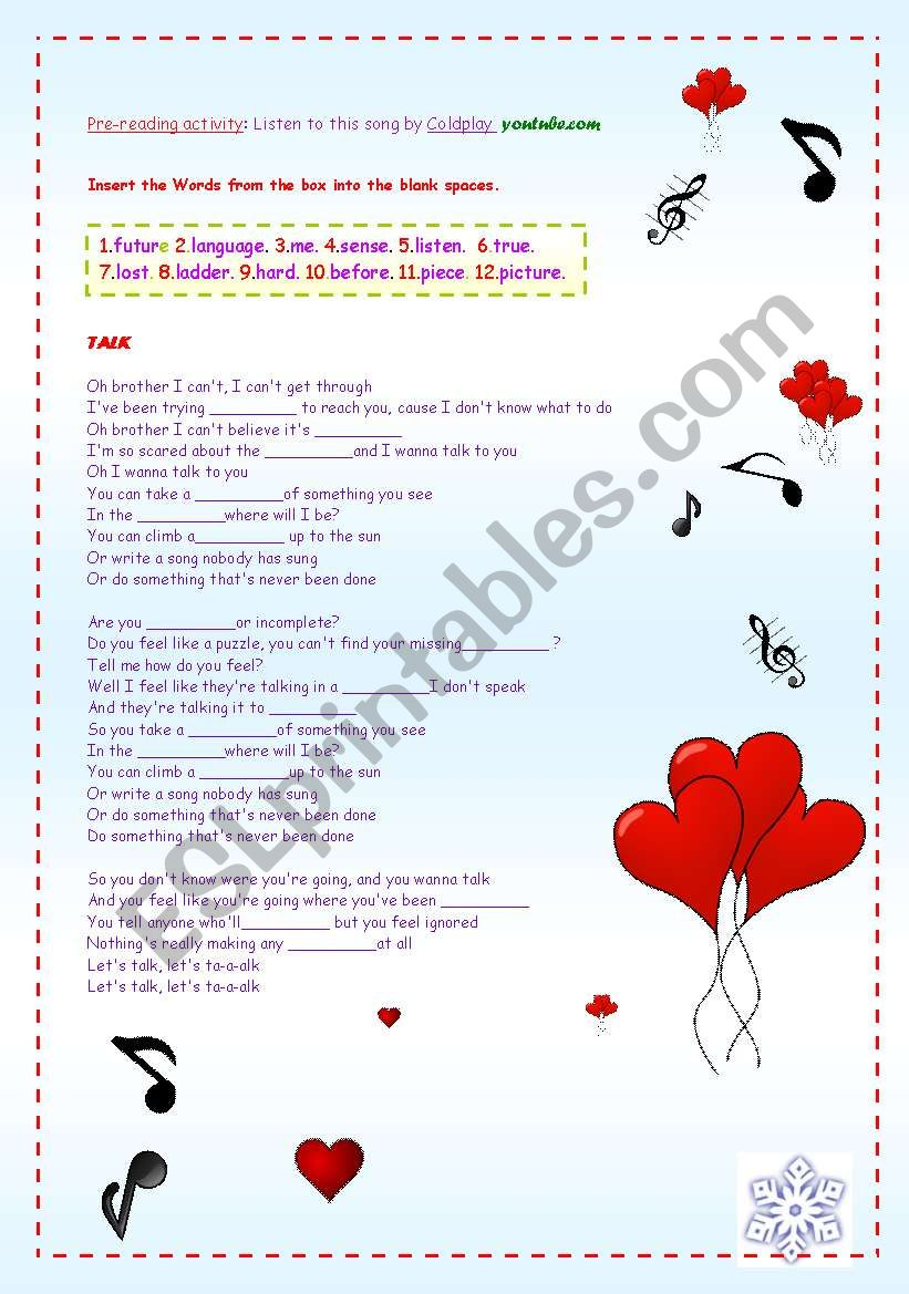 A SONG: TALK BY COLDPLAY worksheet