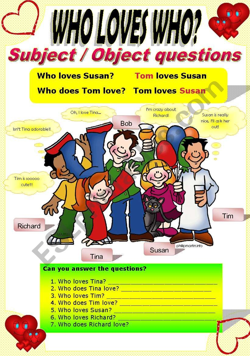 SUBJECT/OBJECT QUESTIONS worksheet