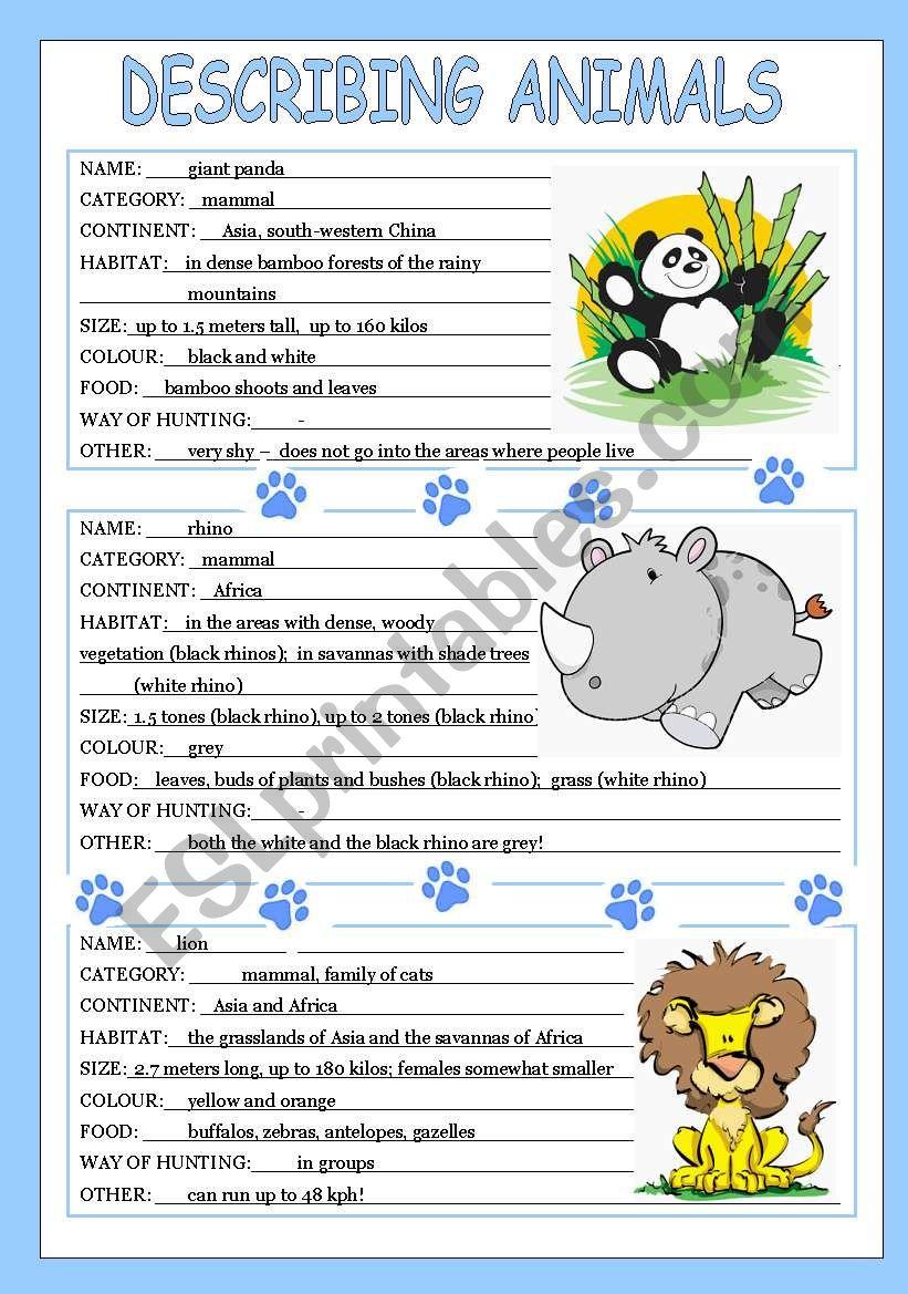 english worksheets describing animals 3 3. Black Bedroom Furniture Sets. Home Design Ideas