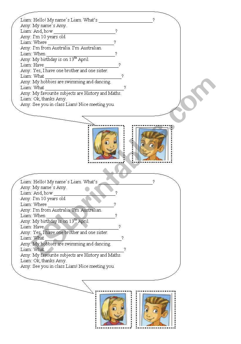 Asking questions worksheet