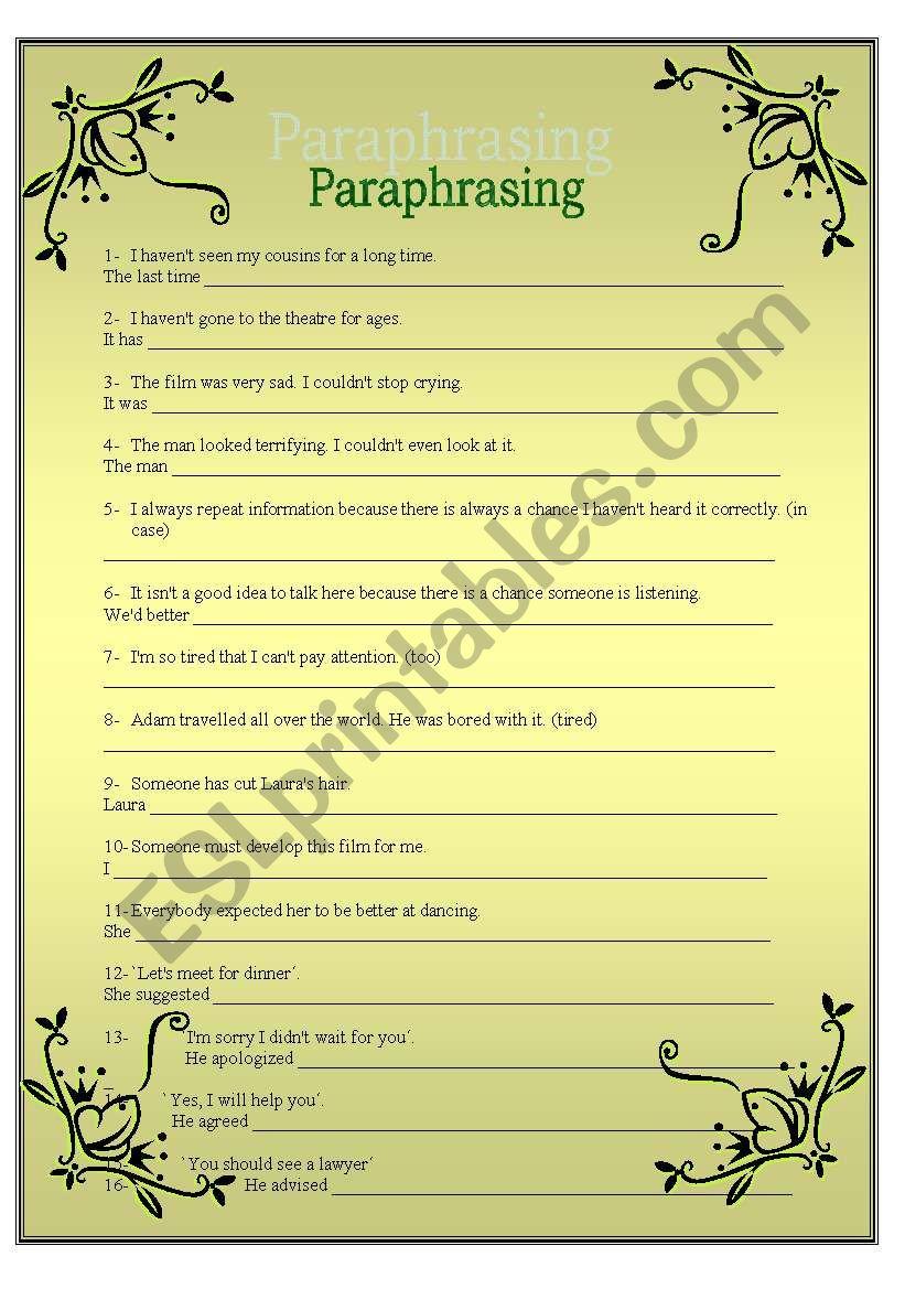 FCE: PARAPHRASING worksheet