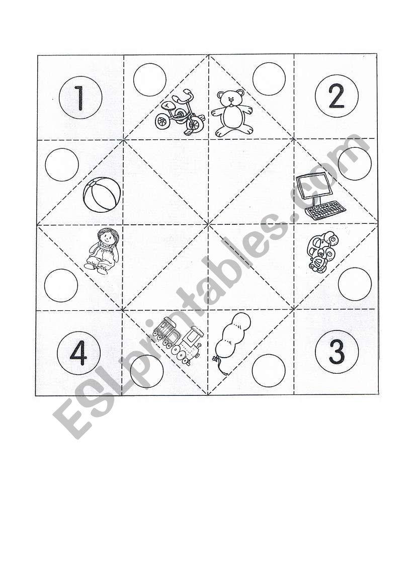 Cootie catcher - toys worksheet