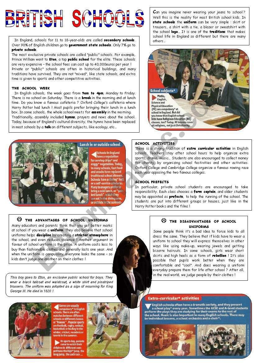 British Schools worksheet