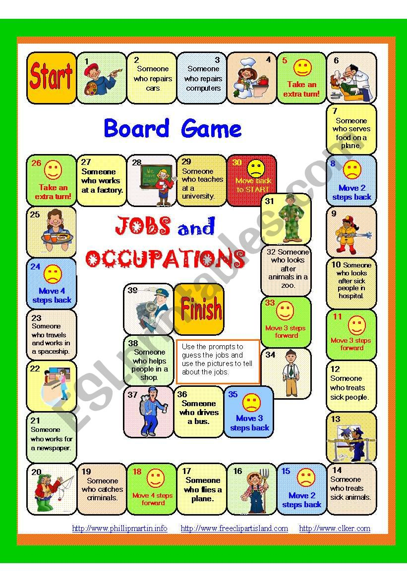 JOBS and Occupations Board game 4/5 + instructions + key. Fully editable