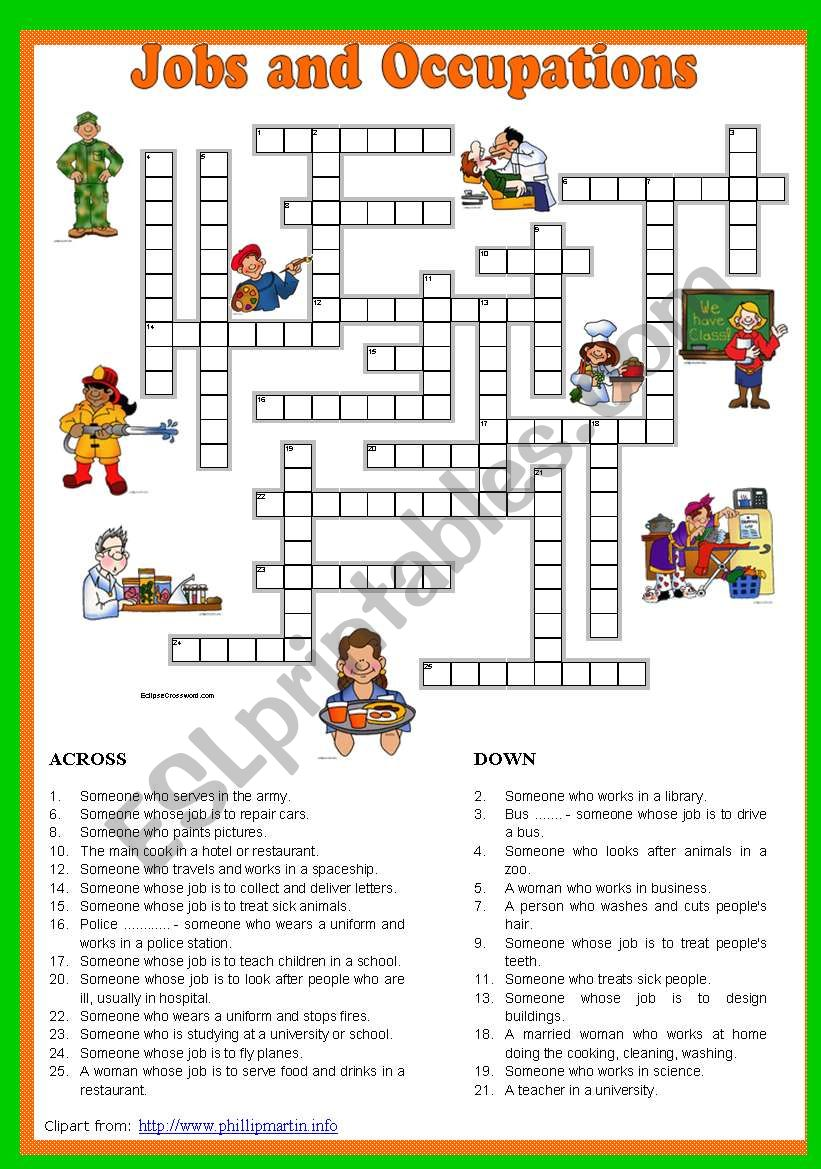 Jobs and Occupations Crossword 5/5. Key included.