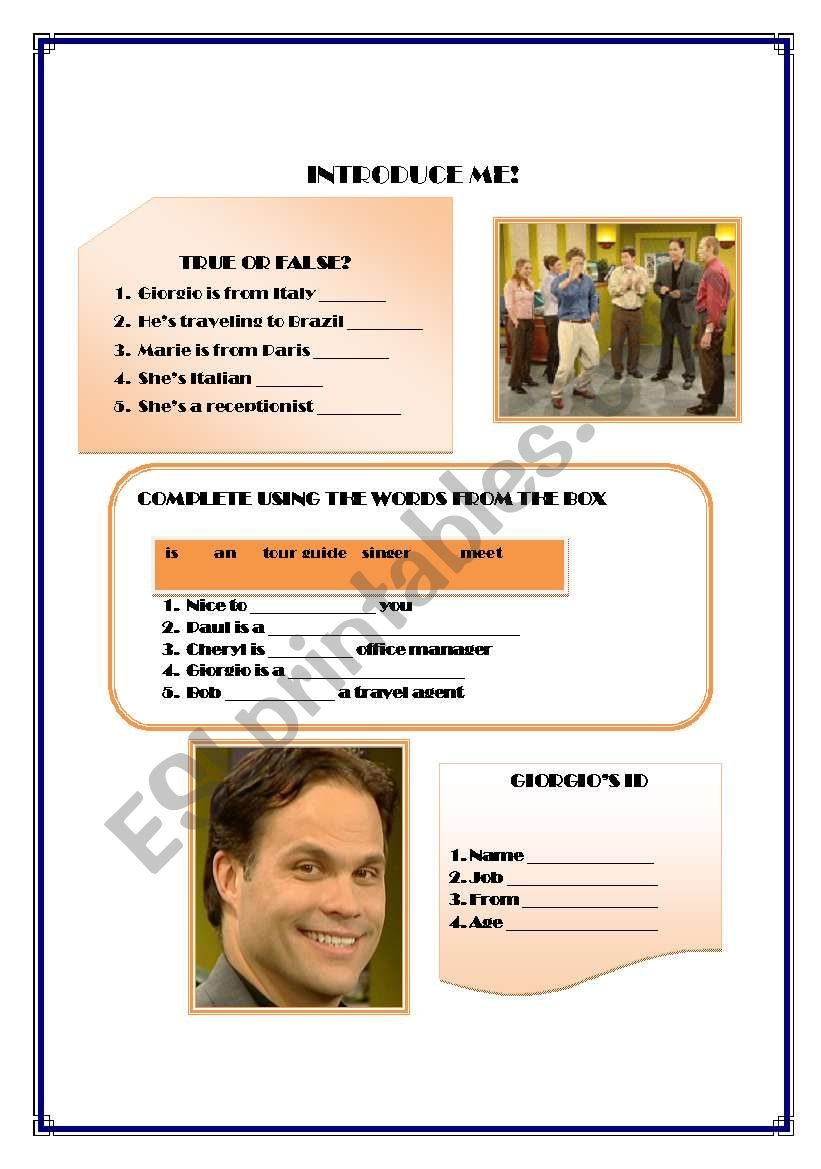 1df426cd4f6 English worksheets: Introduce me Top Notch video session