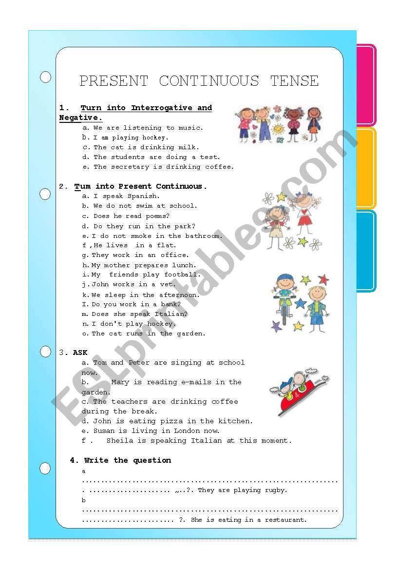 PRESENT CONTINUOUS TENSE worksheet
